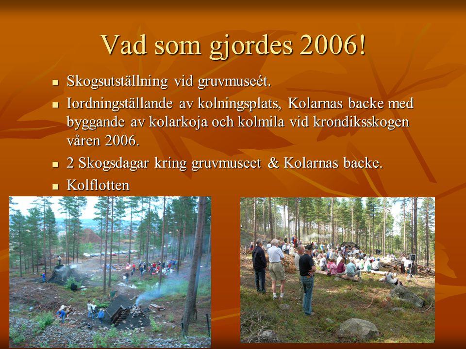 Vad som gjordes 2006! Skogsutställning vid gruvmuseét. Skogsutställning vid gruvmuseét. Iordningställande av kolningsplats, Kolarnas backe med byggand