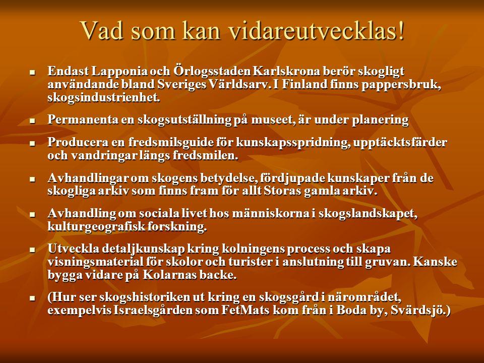 Vad som kan vidareutvecklas! Endast Lapponia och Örlogsstaden Karlskrona berör skogligt användande bland Sveriges Världsarv. I Finland finns pappersbr