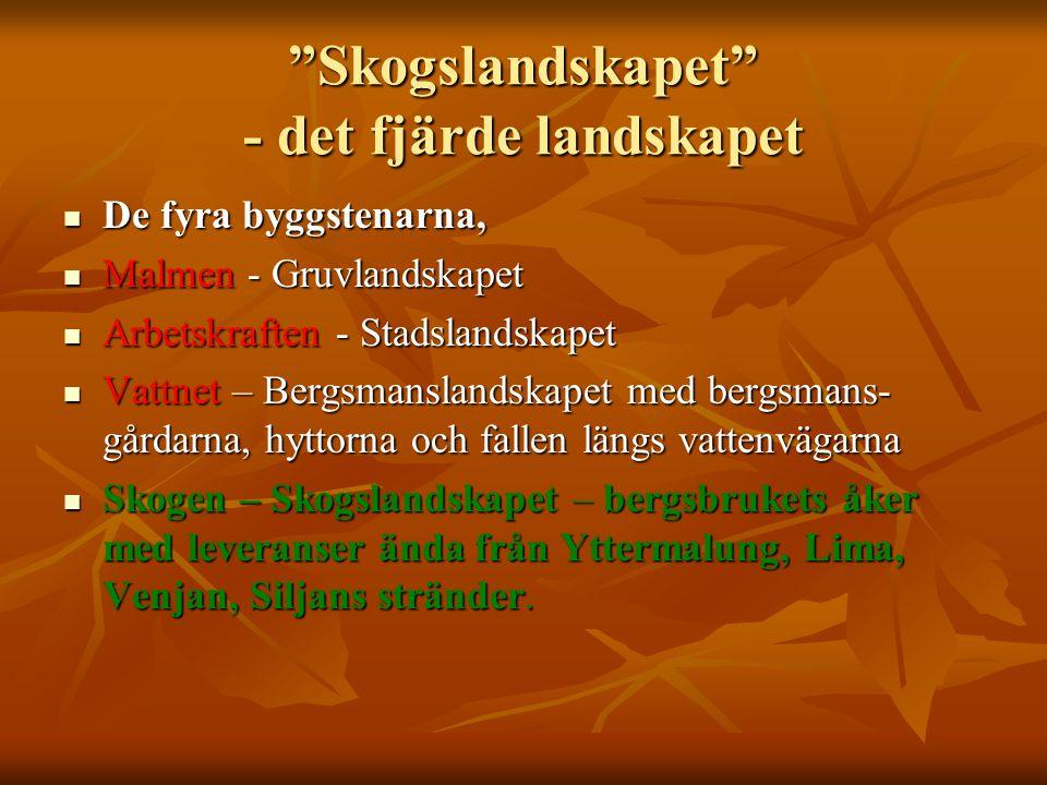 """""""Skogslandskapet"""" - det fjärde landskapet De fyra byggstenarna, De fyra byggstenarna, Malmen - Gruvlandskapet Malmen - Gruvlandskapet Arbetskraften -"""