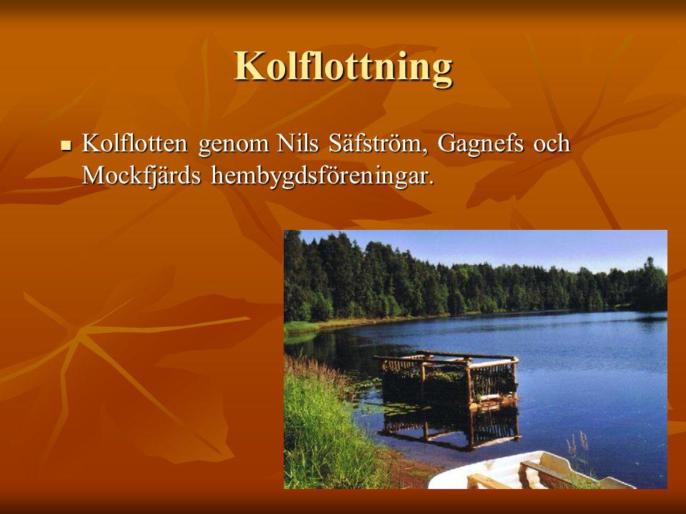 Kolflottning Kolflotten genom Nils Säfström, Gagnefs och Mockfjärds hembygdsföreningar. Kolflotten genom Nils Säfström, Gagnefs och Mockfjärds hembygd