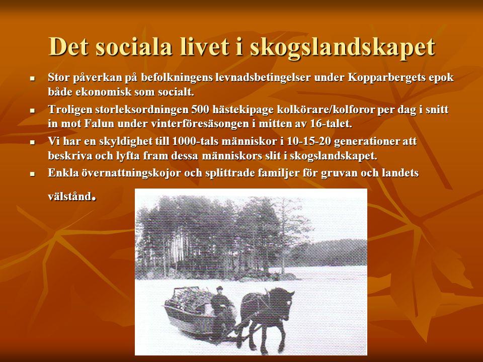 Det sociala livet i skogslandskapet Stor påverkan på befolkningens levnadsbetingelser under Kopparbergets epok både ekonomisk som socialt. Stor påverk