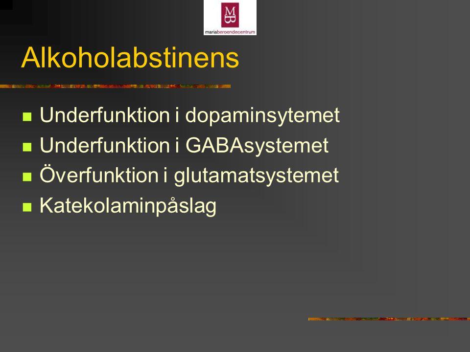 Alkoholabstinens Underfunktion i dopaminsytemet Underfunktion i GABAsystemet Överfunktion i glutamatsystemet Katekolaminpåslag