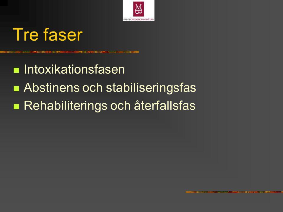 Tre faser Intoxikationsfasen Abstinens och stabiliseringsfas Rehabiliterings och återfallsfas