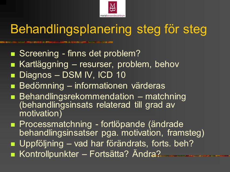 Behandlingsplanering steg för steg Screening - finns det problem.