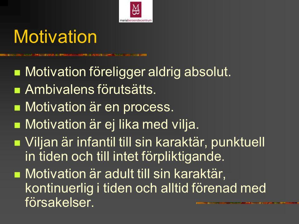 Motivation Motivation föreligger aldrig absolut.Ambivalens förutsätts.