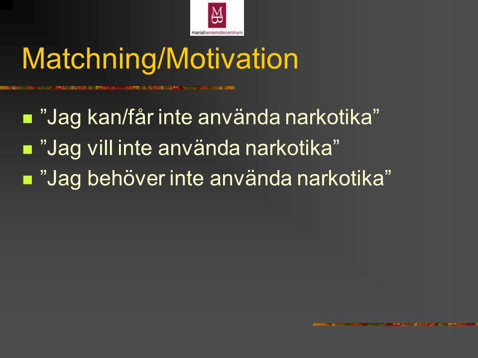 Matchning/Motivation Jag kan/får inte använda narkotika Jag vill inte använda narkotika Jag behöver inte använda narkotika