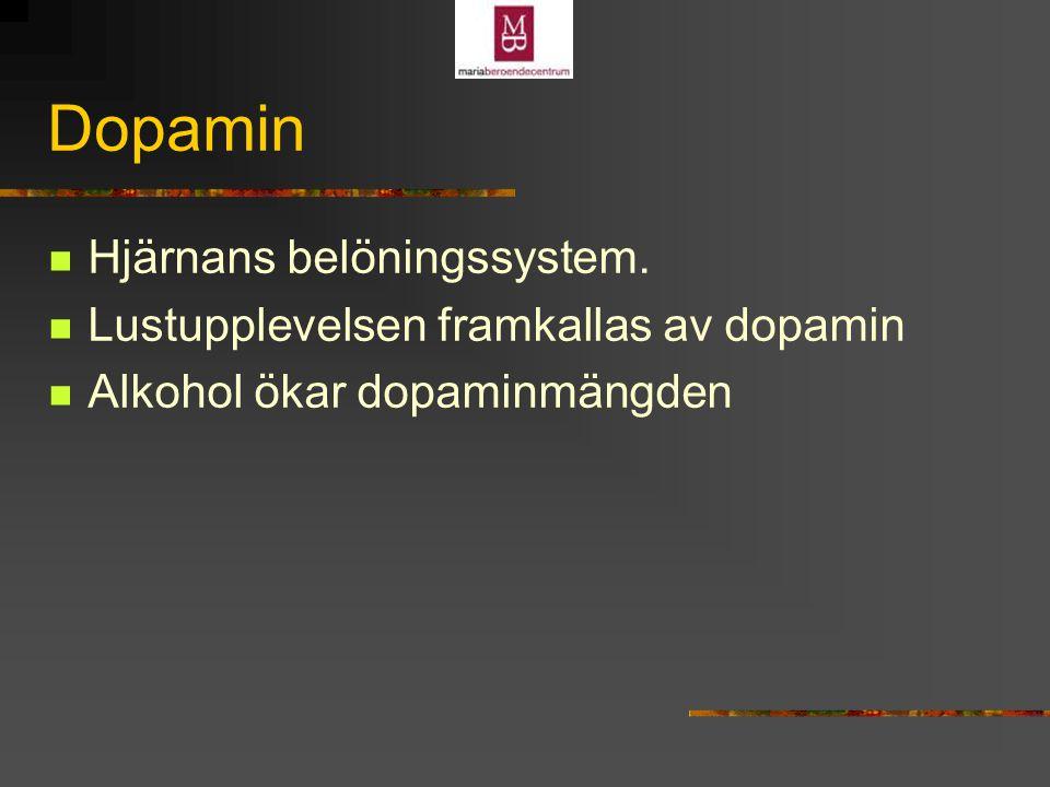 Dopamin Dopaminblockad minskar alkoholintag hos försöksdjur Dopaminblockad minskar lustupplevelsen av alkohol Kronisk alkoholtillförsel ger lägre antal D2- receptorer i framhjärnan
