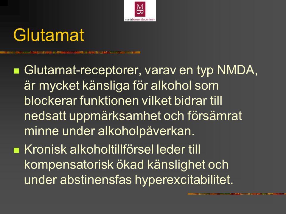 Glutamat Glutamat-receptorer, varav en typ NMDA, är mycket känsliga för alkohol som blockerar funktionen vilket bidrar till nedsatt uppmärksamhet och försämrat minne under alkoholpåverkan.