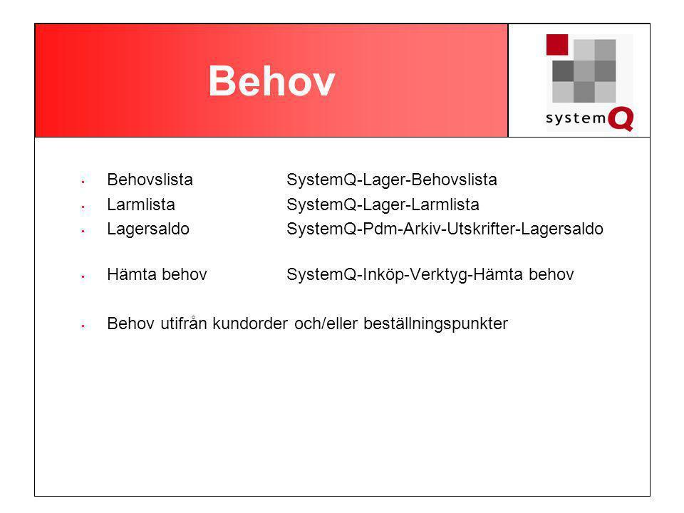 Behov Behovslista SystemQ-Lager-Behovslista LarmlistaSystemQ-Lager-Larmlista Lagersaldo SystemQ-Pdm-Arkiv-Utskrifter-Lagersaldo Hämta behovSystemQ-Inköp-Verktyg-Hämta behov Behov utifrån kundorder och/eller beställningspunkter