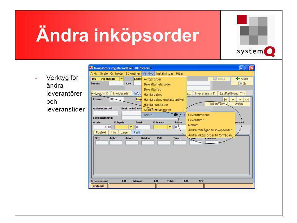 Order per leverantör Sök efter alla order på en leverantör Dubbelklicka för att se vad som finns på en inköpsorder