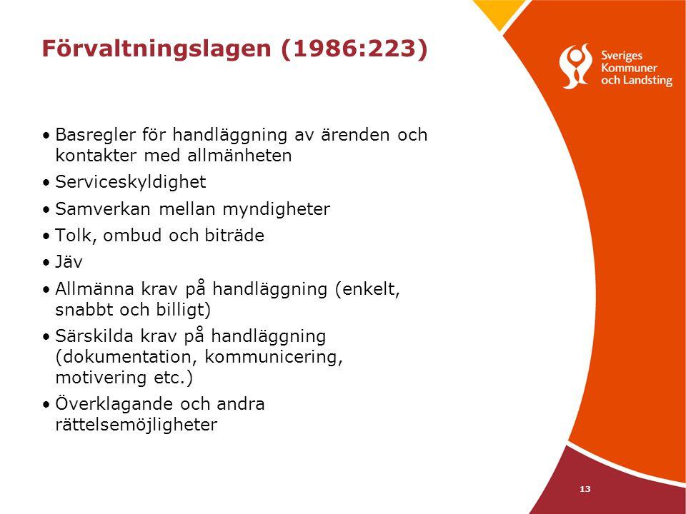 13 Förvaltningslagen (1986:223) Basregler för handläggning av ärenden och kontakter med allmänheten Serviceskyldighet Samverkan mellan myndigheter Tol