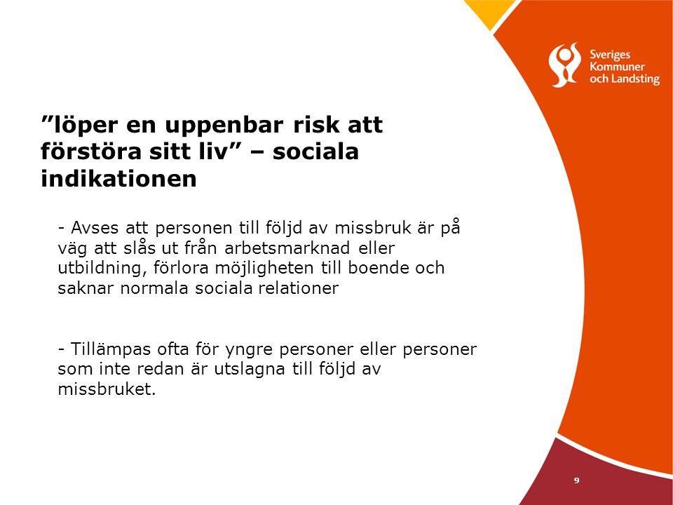 """9 """"löper en uppenbar risk att förstöra sitt liv"""" – sociala indikationen - Avses att personen till följd av missbruk är på väg att slås ut från arbetsm"""