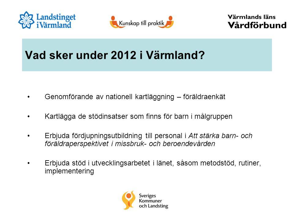 Vad sker under 2012 i Värmland? Genomförande av nationell kartläggning – föräldraenkät Kartlägga de stödinsatser som finns för barn i målgruppen Erbju