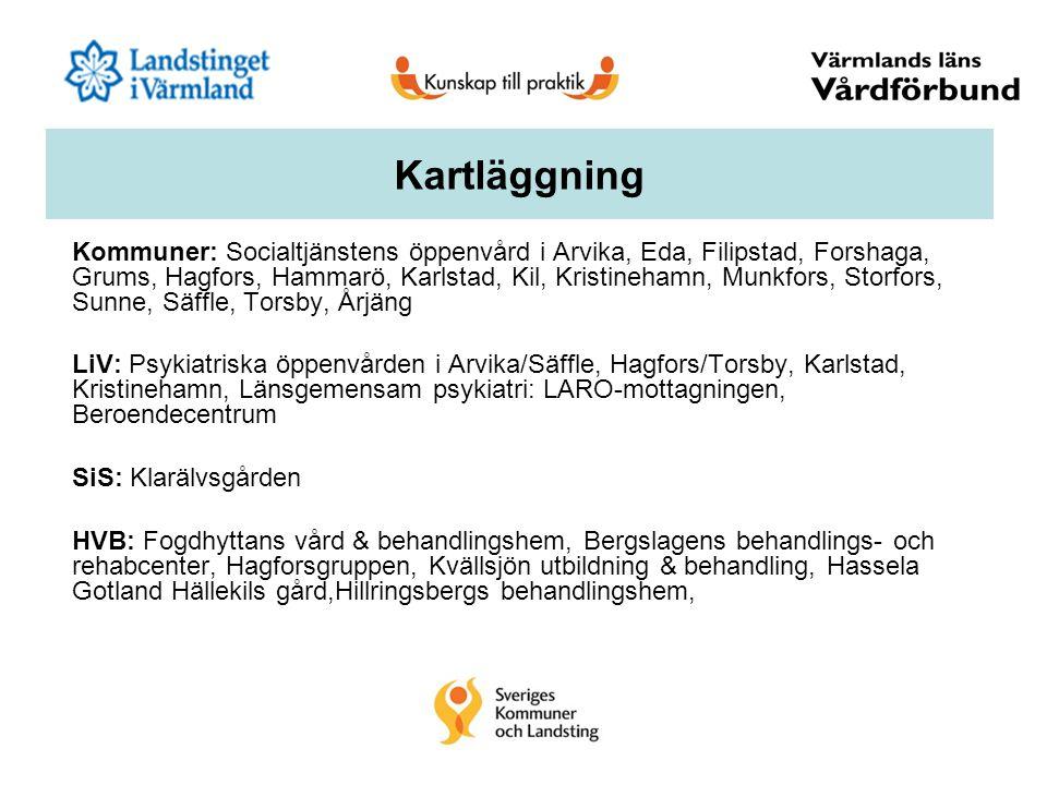 Kommuner: Socialtjänstens öppenvård i Arvika, Eda, Filipstad, Forshaga, Grums, Hagfors, Hammarö, Karlstad, Kil, Kristinehamn, Munkfors, Storfors, Sunn