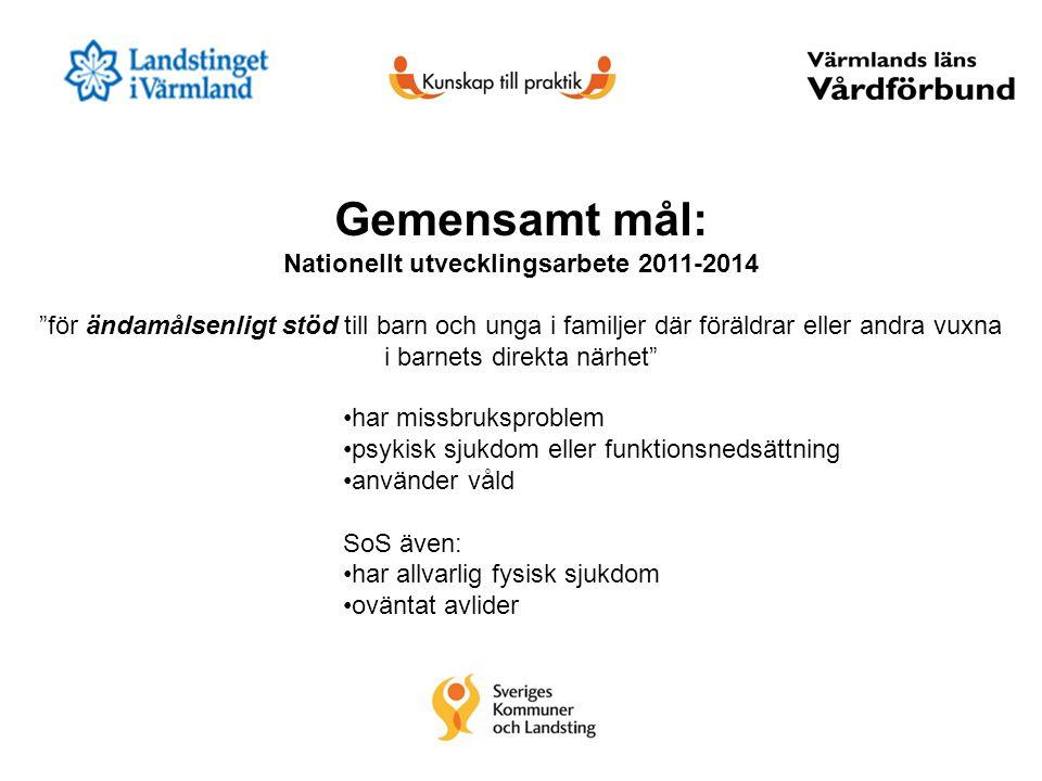 """Gemensamt mål: Nationellt utvecklingsarbete 2011-2014 """"för ändamålsenligt stöd till barn och unga i familjer där föräldrar eller andra vuxna i barnets"""