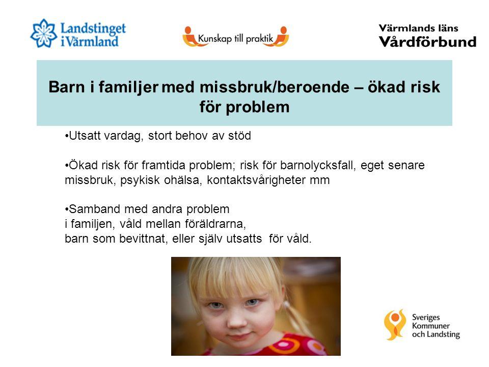 Barn i familjer med missbruk/beroende – ökad risk för problem Utsatt vardag, stort behov av stöd Ökad risk för framtida problem; risk för barnolycksfa