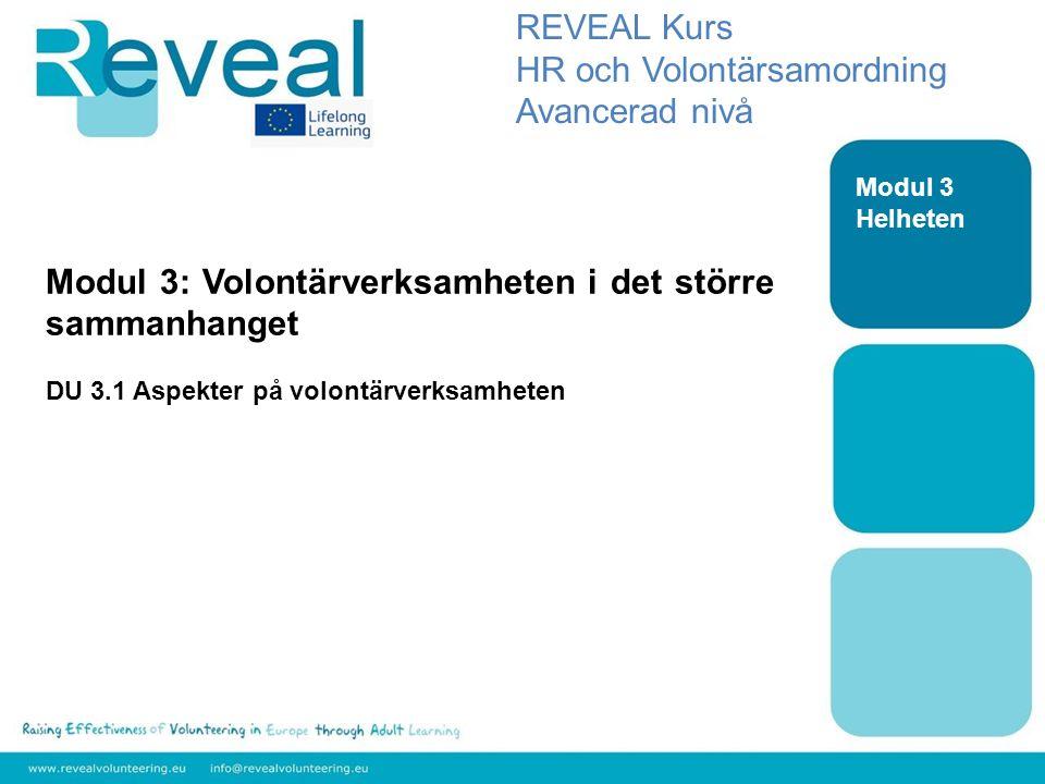 Modul 3: Volontärverksamheten i det större sammanhanget DU 3.1 Aspekter på volontärverksamheten REVEAL Kurs HR och Volontärsamordning Avancerad nivå Modul 3 Helheten
