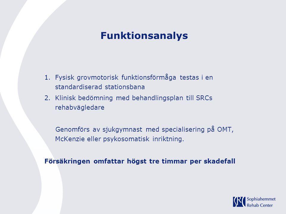 Funktionsanalys 1.Fysisk grovmotorisk funktionsförmåga testas i en standardiserad stationsbana 2.Klinisk bedömning med behandlingsplan till SRCs rehab