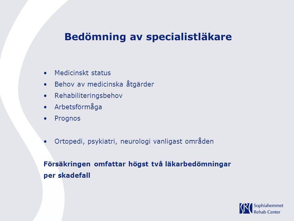 Bedömning av specialistläkare Medicinskt status Behov av medicinska åtgärder Rehabiliteringsbehov Arbetsförmåga Prognos Ortopedi, psykiatri, neurologi