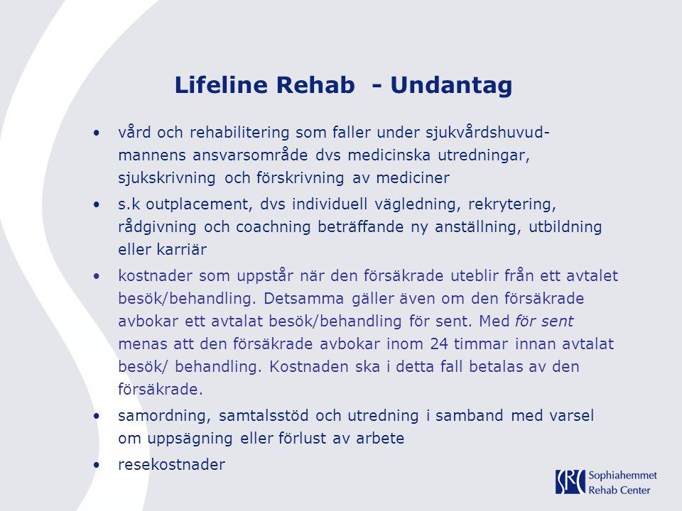 Lifeline Rehab - Undantag vård och rehabilitering som faller under sjukvårdshuvud- mannens ansvarsområde dvs medicinska utredningar, sjukskrivning och