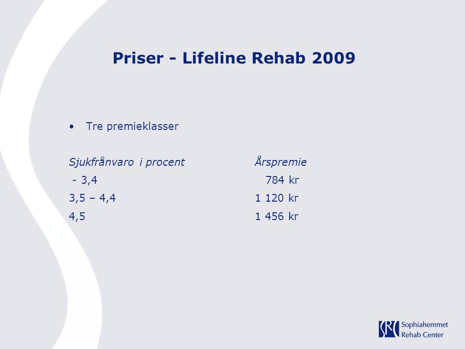 Priser - Lifeline Rehab 2009 Tre premieklasser Sjukfrånvaro i procentÅrspremie - 3,4 784 kr 3,5 – 4,41 120 kr 4,51 456 kr
