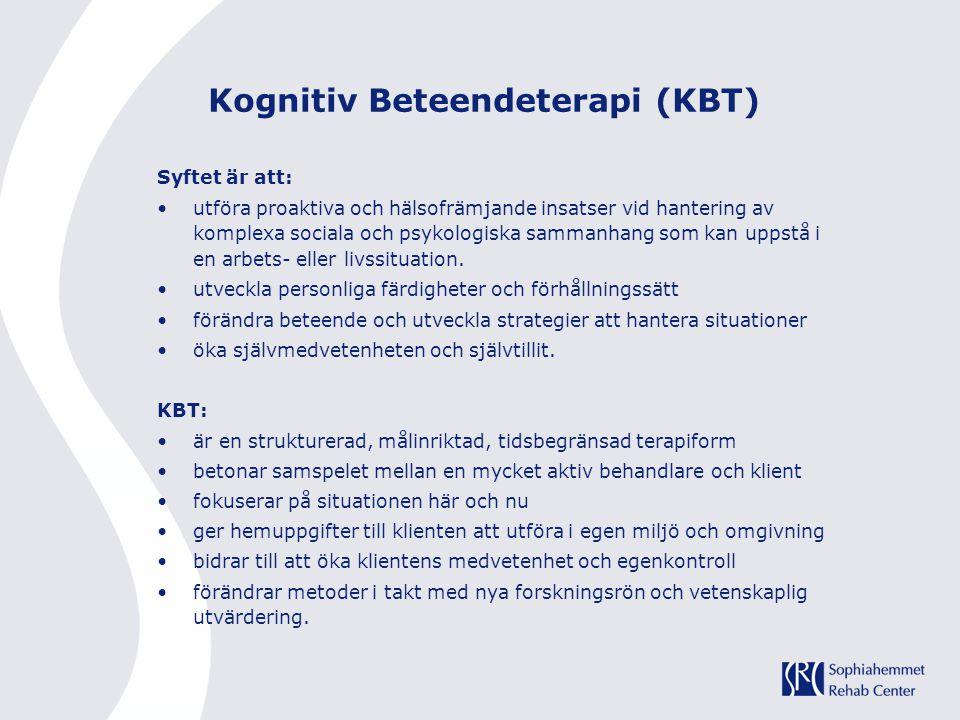 Kognitiv Beteendeterapi (KBT) Syftet är att: utföra proaktiva och hälsofrämjande insatser vid hantering av komplexa sociala och psykologiska sammanhan