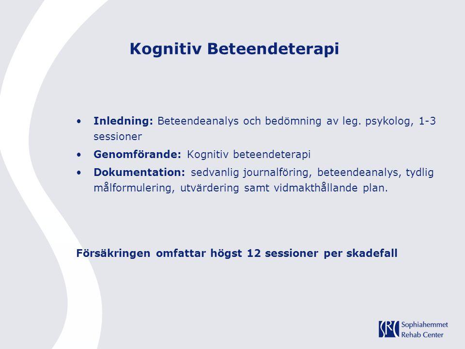 Kognitiv Beteendeterapi Inledning: Beteendeanalys och bedömning av leg. psykolog, 1-3 sessioner Genomförande: Kognitiv beteendeterapi Dokumentation: s