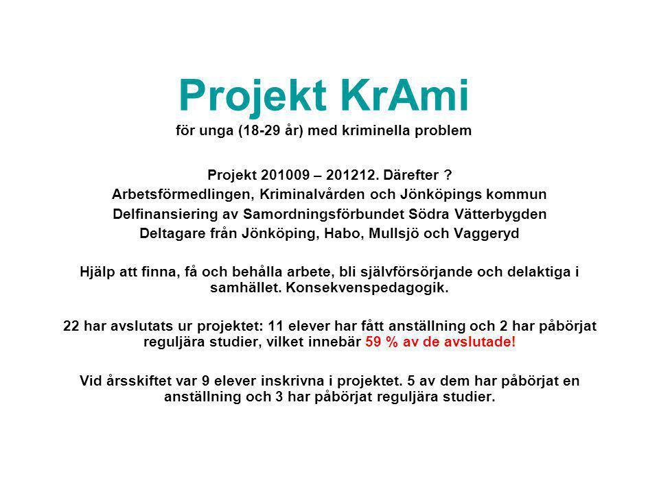 Projekt KrAmi för unga (18-29 år) med kriminella problem Projekt 201009 – 201212. Därefter ? Arbetsförmedlingen, Kriminalvården och Jönköpings kommun