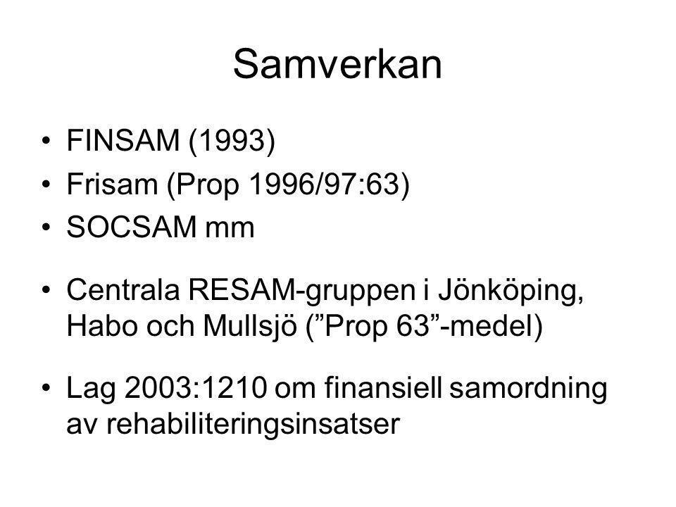 Samverkan FINSAM (1993) Frisam (Prop 1996/97:63) SOCSAM mm Centrala RESAM-gruppen i Jönköping, Habo och Mullsjö ( Prop 63 -medel) Lag 2003:1210 om finansiell samordning av rehabiliteringsinsatser