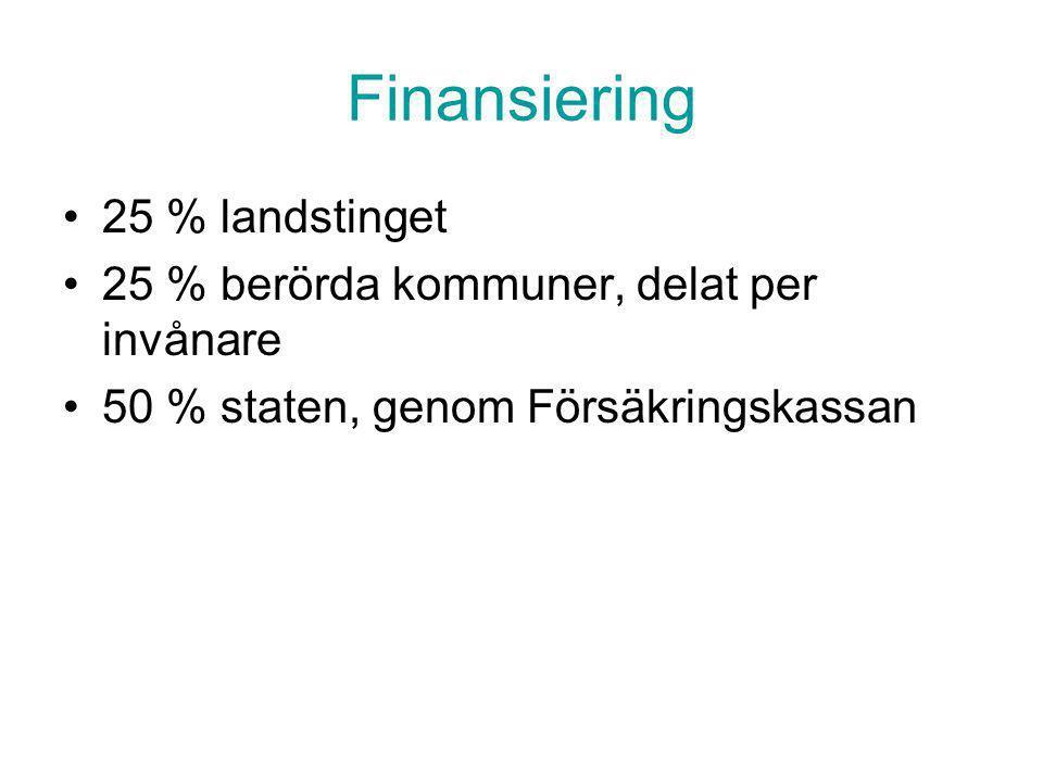 Finansiering 25 % landstinget 25 % berörda kommuner, delat per invånare 50 % staten, genom Försäkringskassan
