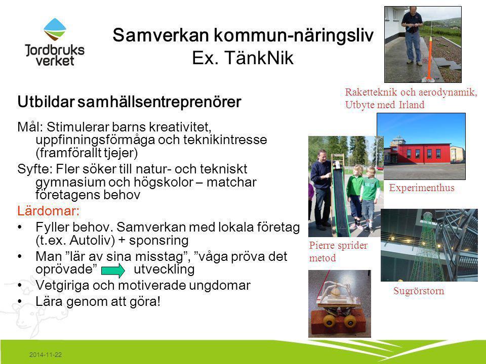 2014-11-22 Samverkan kommun-näringsliv Ex. TänkNik Utbildar samhällsentreprenörer Mål: Stimulerar barns kreativitet, uppfinningsförmåga och teknikintr