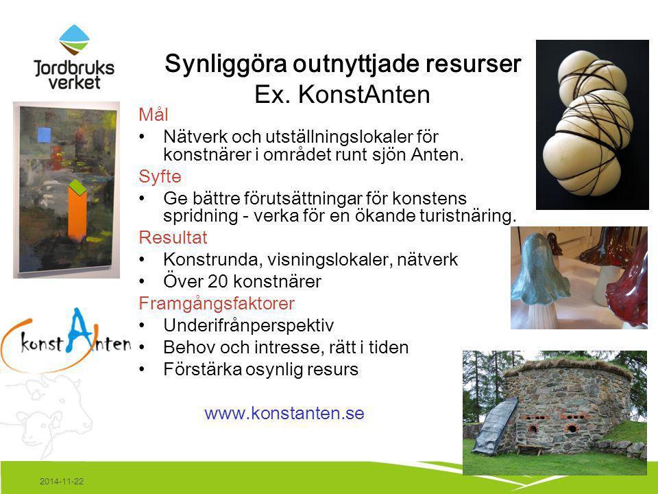 2014-11-22 Synliggöra outnyttjade resurser Ex. KonstAnten Mål Nätverk och utställningslokaler för konstnärer i området runt sjön Anten. Syfte Ge bättr
