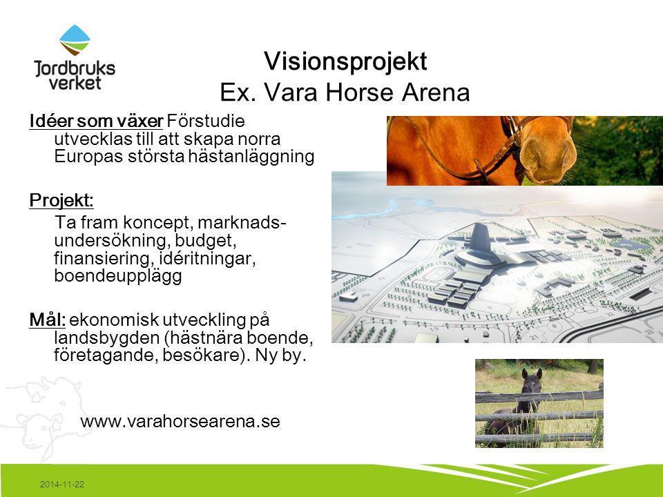 2014-11-22 Visionsprojekt Ex. Vara Horse Arena Idéer som växer Förstudie utvecklas till att skapa norra Europas största hästanläggning Projekt: Ta fra