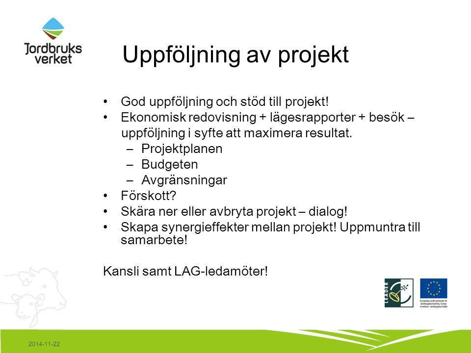 2014-11-22 Uppföljning av projekt God uppföljning och stöd till projekt! Ekonomisk redovisning + lägesrapporter + besök – uppföljning i syfte att maxi