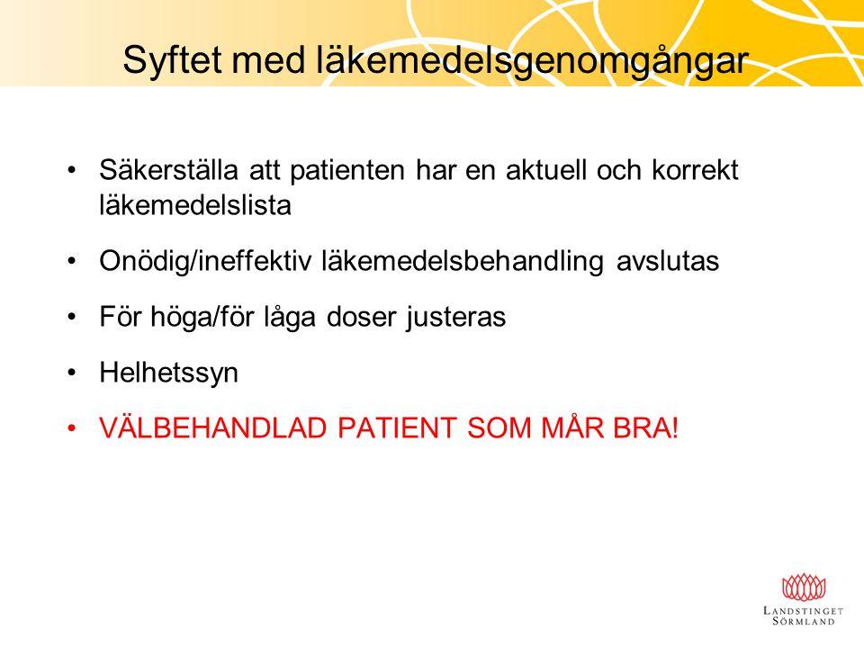 Syftet med läkemedelsgenomgångar Säkerställa att patienten har en aktuell och korrekt läkemedelslista Onödig/ineffektiv läkemedelsbehandling avslutas
