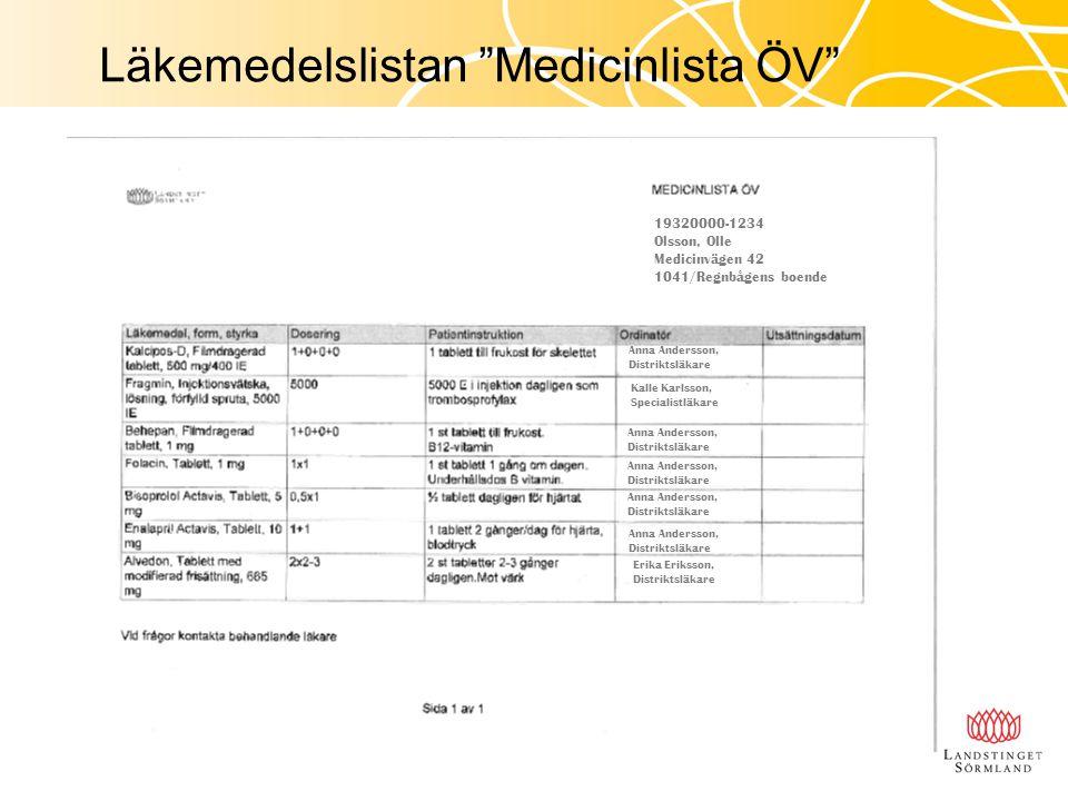 """Läkemedelslistan """"Medicinlista ÖV"""" 19320000-1234 Olsson, Olle Medicinvägen 42 1041/Regnbågens boende Anna Andersson, Distriktsläkare Kalle Karlsson, S"""