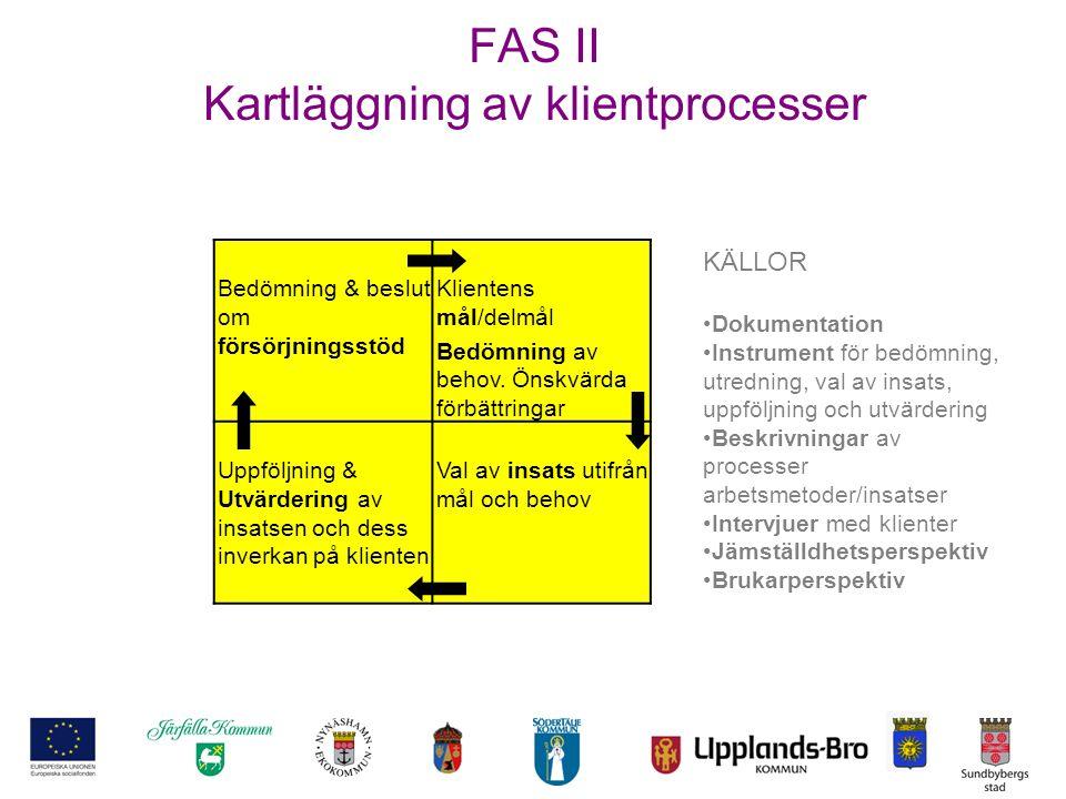 FAS II Kartläggning av klientprocesser Bedömning & beslut om försörjningsstöd Klientens mål/delmål Bedömning av behov. Önskvärda förbättringar Uppfölj