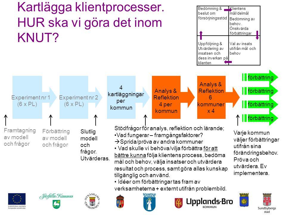 Kartlägga klientprocesser. HUR ska vi göra det inom KNUT? Experiment nr 1 (6 x PL) Förbättring av modell och frågor Framtagning av modell och frågor S