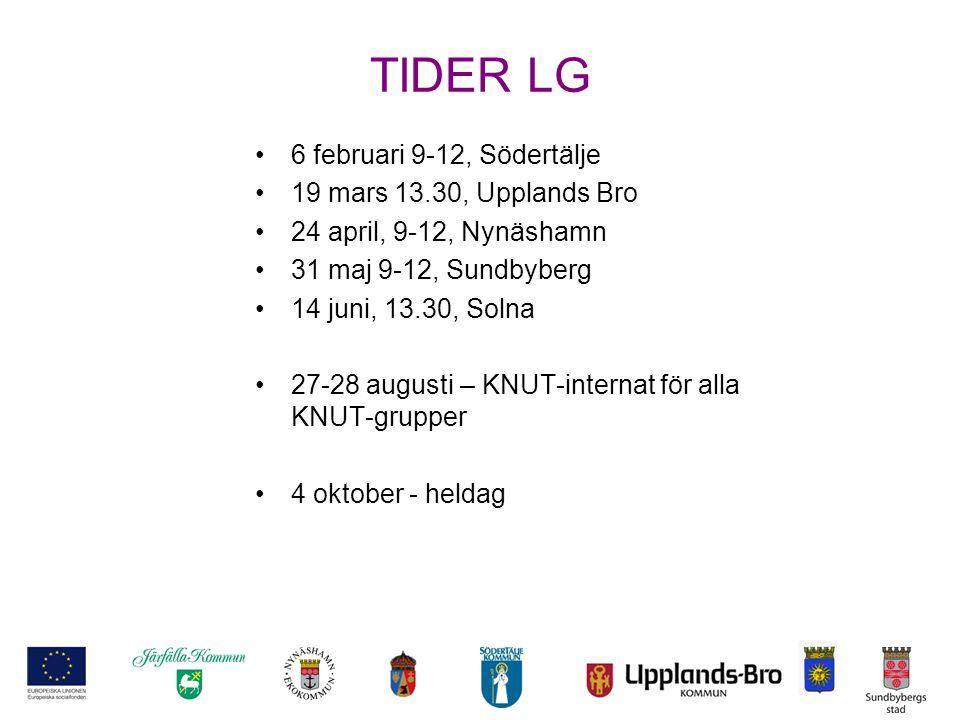 TIDER LG 6 februari 9-12, Södertälje 19 mars 13.30, Upplands Bro 24 april, 9-12, Nynäshamn 31 maj 9-12, Sundbyberg 14 juni, 13.30, Solna 27-28 augusti