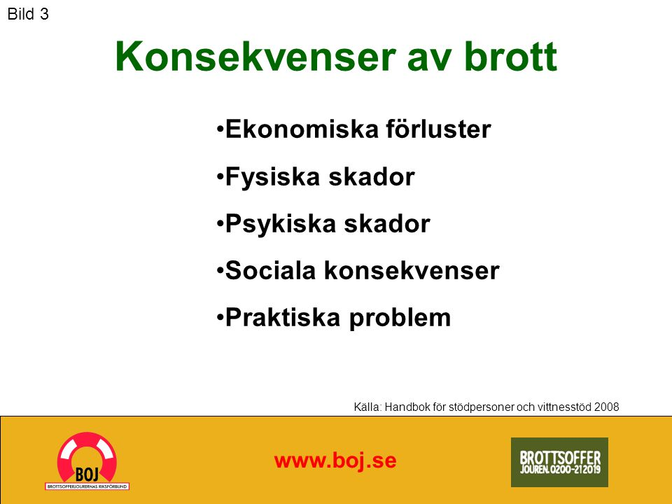 Konsekvenser av brott www.boj.se Ekonomiska förluster Fysiska skador Psykiska skador Sociala konsekvenser Praktiska problem Källa: Handbok för stödpersoner och vittnesstöd 2008 Bild 3