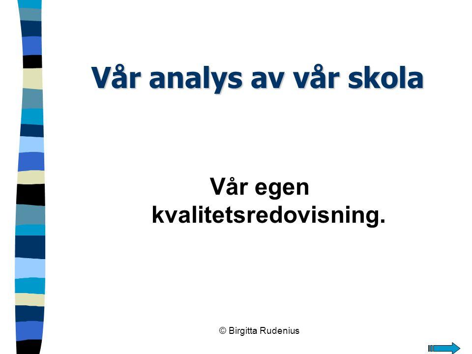 © Birgitta Rudenius Vår analys av vår skola Vår egen kvalitetsredovisning.