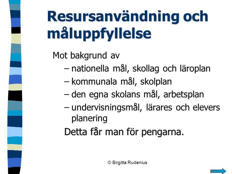 © Birgitta Rudenius Resursanvändning och måluppfyllelse Mot bakgrund av –nationella mål, skollag och läroplan –kommunala mål, skolplan –den egna skola