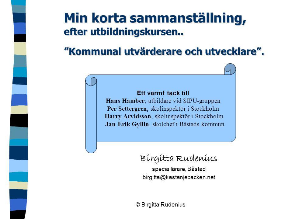 """© Birgitta Rudenius Min korta sammanställning, efter utbildningskursen.. """"Kommunal utvärderare och utvecklare"""". Birgitta Rudenius speciallärare, Båsta"""