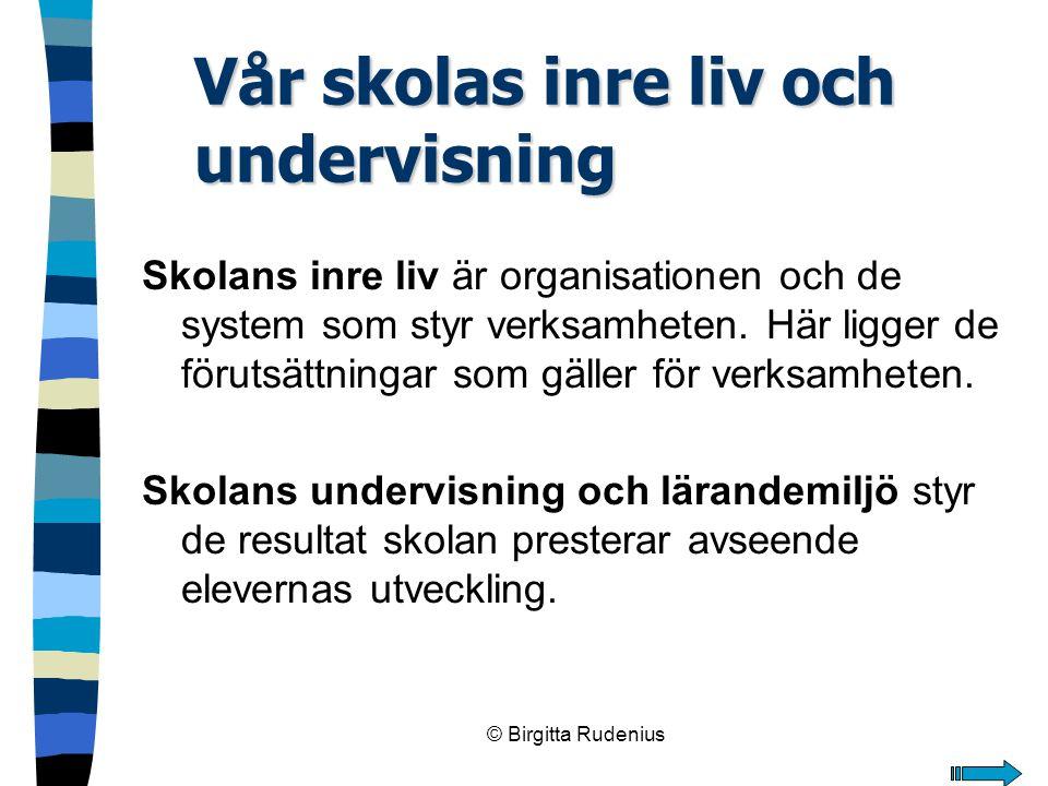 © Birgitta Rudenius Vår skolas inre liv och undervisning Skolans inre liv är organisationen och de system som styr verksamheten. Här ligger de förutsä