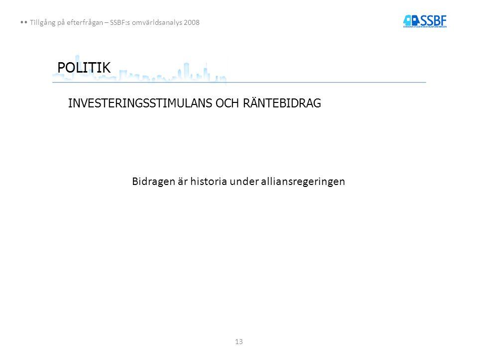 13 Tillgång på efterfrågan – SSBF:s omvärldsanalys 2008 POLITIK INVESTERINGSSTIMULANS OCH RÄNTEBIDRAG Bidragen är historia under alliansregeringen