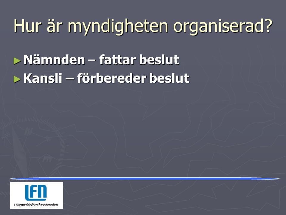Hur är myndigheten organiserad? ► Nämnden – fattar beslut ► Kansli – förbereder beslut