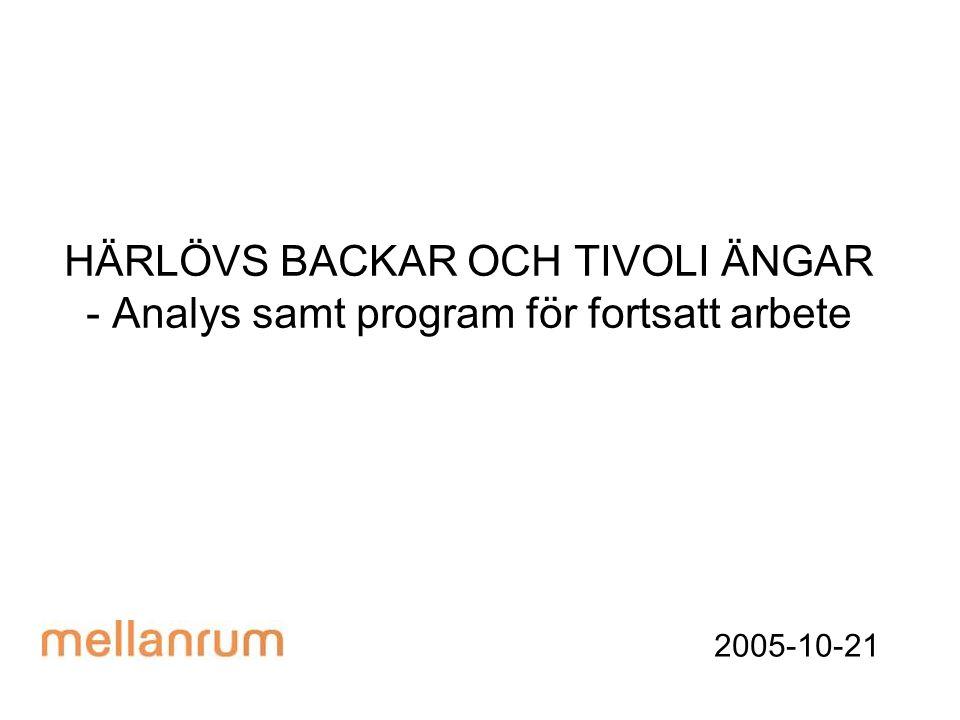 HÄRLÖVS BACKAR OCH TIVOLI ÄNGAR - Analys samt program för fortsatt arbete 2005-10-21