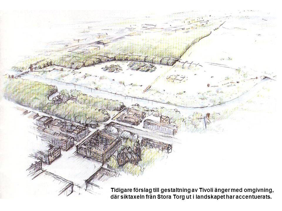 Tidigare förslag till gestaltning av Tivoli änger med omgivning, där siktaxeln från Stora Torg ut i landskapet har accentuerats.