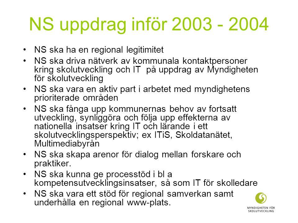 NS uppdrag inför 2003 - 2004 NS ska ha en regional legitimitet NS ska driva nätverk av kommunala kontaktpersoner kring skolutveckling och IT på uppdrag av Myndigheten för skolutveckling NS ska vara en aktiv part i arbetet med myndighetens prioriterade områden NS ska fånga upp kommunernas behov av fortsatt utveckling, synliggöra och följa upp effekterna av nationella insatser kring IT och lärande i ett skolutvecklingsperspektiv; ex ITiS, Skoldatanätet, Multimediabyrån NS ska skapa arenor för dialog mellan forskare och praktiker.