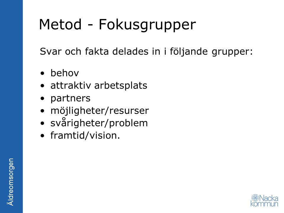 Äldreomsorgen Metod - Fokusgrupper Svar och fakta delades in i följande grupper: behov attraktiv arbetsplats partners möjligheter/resurser svårigheter